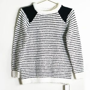 Goodnight Macaroon Black/White Striped Sweater L